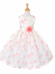 Off-White Floral Organza Dress w/ Sash