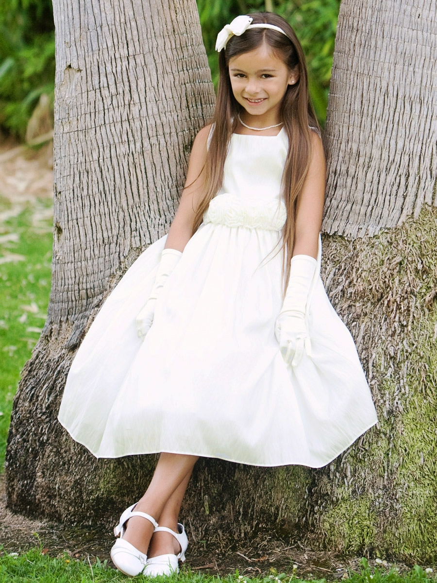 White Flower Girl Dress - Taffeta Dress w/ Flower Cummerbund