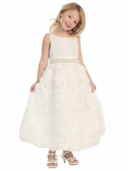 Off-White Flower Ribboned Lace w/ Beaded Chiffon Dress