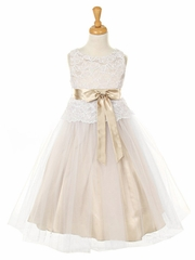 Champagne Stretch Lace Bodice w/ Double Tulle Over Charmouse
