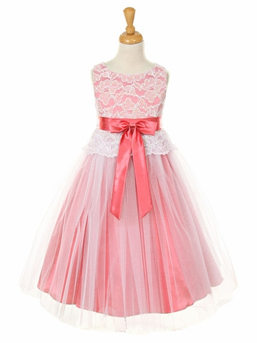 Coral Lace Bodice w/ Double Tulle Over Charmouse