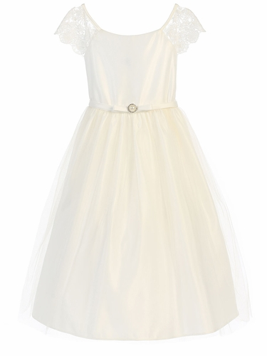 Off White Lace Sleeve Satin Dress w/ Pearl Brooch