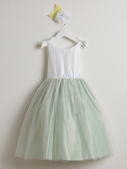 Off White & Sage Double Bow Satin & Tulle Dress