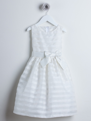 Ivory Striped Organza Flower Girl Dress