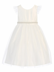 Off White Tulle Dress w/ Flutter Sleeve