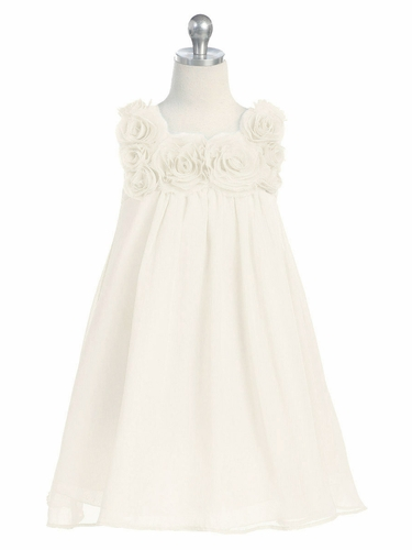 Ivory Yoryu Chiffon Dress w/ Rose Buds