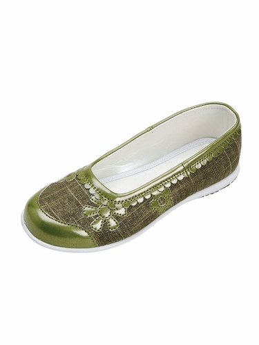 Olive Embroidered Ballet Flat Shoes