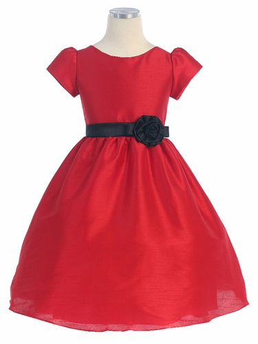 Olivia Classic Red Dupioni Dress
