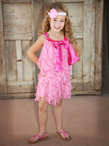 One Posh Kid Pink Cascading Ruffles Dress
