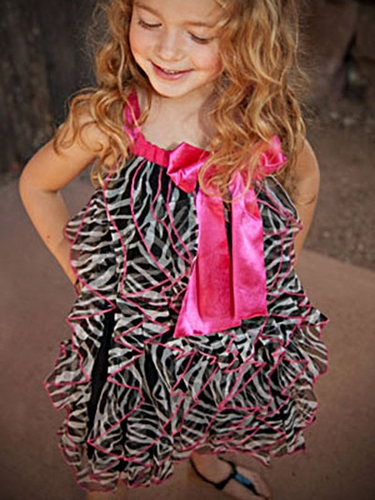 One Posh Kid Zebra Cascading Ruffles Dress