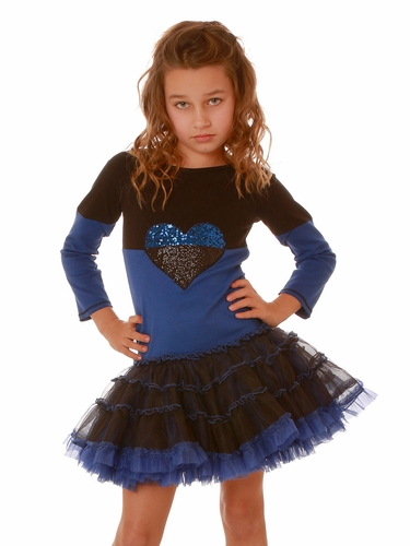 Ooh! La La! Couture Black/ Royal Blue Split Heart Dress