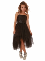 Ooh! La La! Couture Black Sequin Kylee High Low Dress