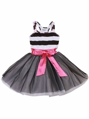 Ooh! La La! Couture Black & White Stripe Tie Bow Dress