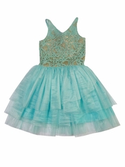 Ooh! La La! Couture Ice Blue & Champagne V-Neck WOW Dress