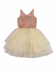 Ooh! La La! Couture Blush & Champagne V-Neck WOW Dress