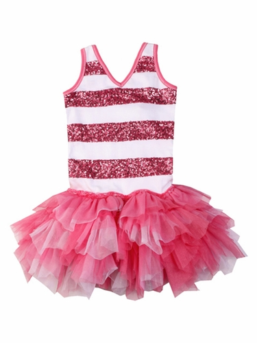 Ooh! La La! Couture Candy Pink & White Sequin Stripe Dress