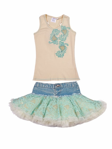 Ooh! La La! Couture Champagne & Ice Blue Denim Skirt Set