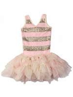 Ooh! La La! Couture Champagne & Pink Parfait Sequin Stripe Dress