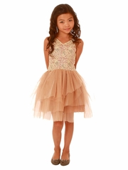 Ooh! La La! Couture Champagne & Rose Gold V-Neck WOW Dress