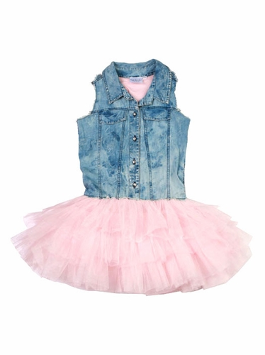 Ooh! La La! Couture Denim Shirt Dress w/ Pink Parfait Skirt