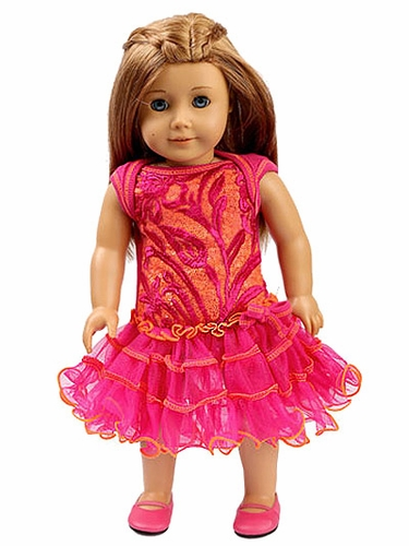 "Ooh! La La! Couture Hot Pink & Orange Embroidered Tulle 18"" Doll Dress"