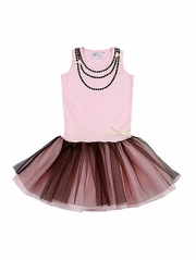 Ooh! La La! Couture Pink Parfait & Black Necklace Dress