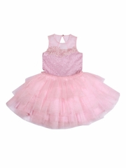Ooh! La La! Couture Pink Parfait Sequin Sheer Shoulder Dress