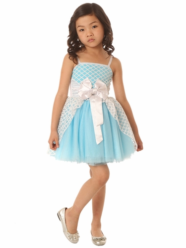 Ooh! La La! Couture White & Aqua Jenna Dress
