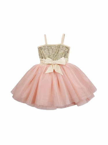 Ooh! La La! Couture WOW Sequin Champagne & Pink 2 Tone Dress