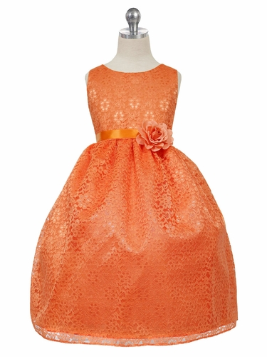 Orange Floral Lace Dress