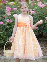 Orange Floral Organza Tencel Print Dress