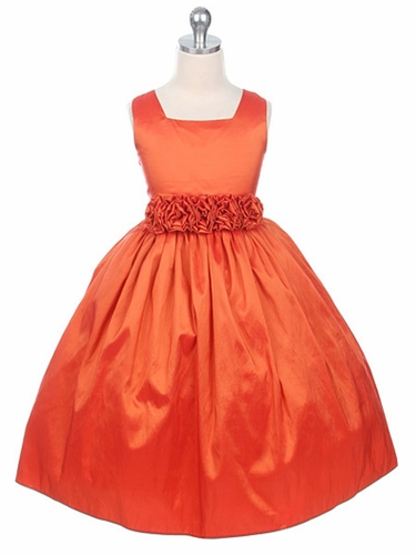 Orange Flower Girl Dress - Taffeta Dress w/ Flower Cummerbund