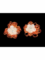 Orange Organza Flower Hair Clip w/ Stone