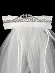 24� White Veil on Rhinestone Tiara w/ Satin & Organza Bows At The Back