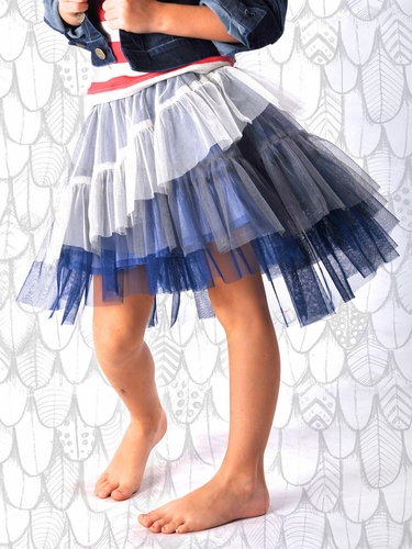 Paper Wings Blue & Grey Tulle Skirt