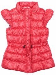 Paper Wings Coral Red Tiny Spots Puffer Vest