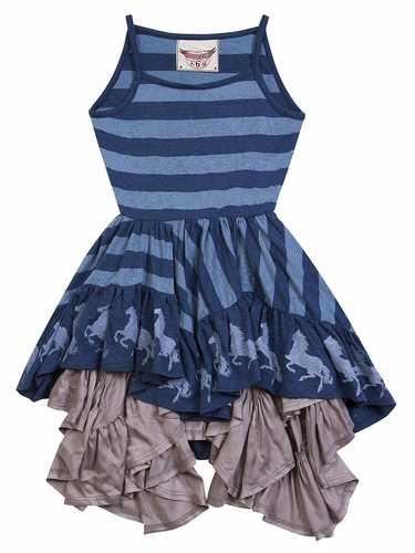 Paper Wings Horse Border Frilled Swing Dress