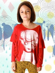 Paper Wings Red / Cream Frilled Tee