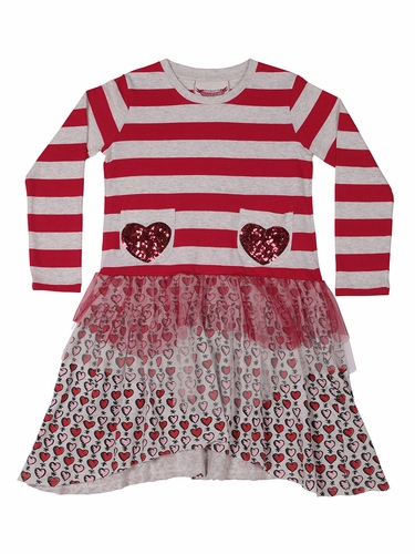 Paper Wings Red Sequin Hearts Jersey Dress