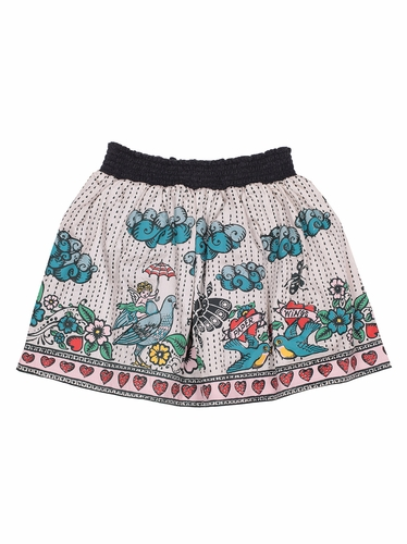 Paper Wings Tattoo Shirred Skirt