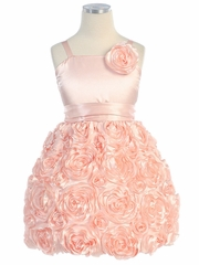 Peach Bubble Rosette Charmeuse Dress