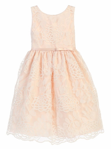 Peach Chrysanthemum Mesh w/ Scallop Dress