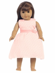 "Peach Cotton Floral Burnout 18"" Doll Dress"