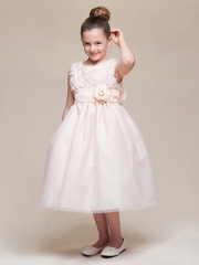 Peach Floral Ribbon Bodice & Tulle Skirt Dress w/Flower & Sash