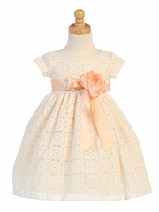 Peach Lace Overall Dress