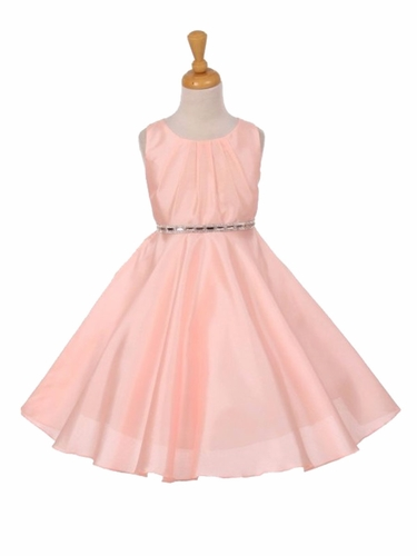 Peach Pleated Satin Scoop Neck Dress w/ Rhinestone Belt
