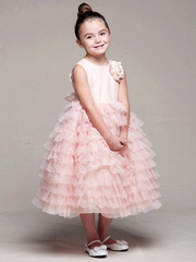 Peach Satin Bodice Layered Tulle Dress