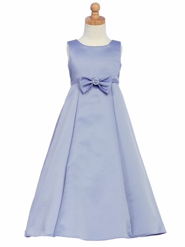 Periwinkle Flower Girl Dress - Satin A-Line