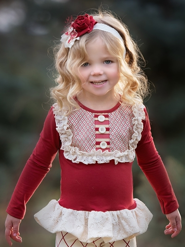 Persnickety Red Lou Lou Peplum Top