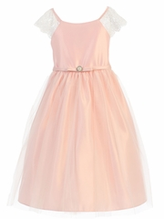 Petal Pink Lace Sleeve Satin Dress w/ Pearl Broach